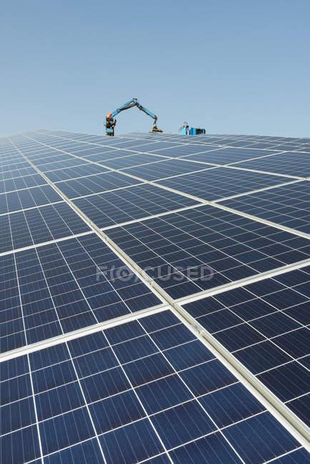 New solar farm constructed on former waste dump — Stock Photo
