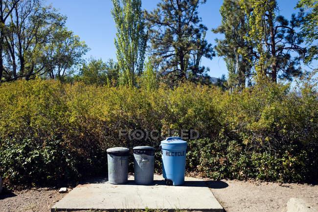 Poubelles de recyclage placées en rangée à l'extérieur — Photo de stock