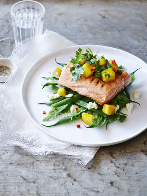 Still life of plate with mango coriander salsa trout — Stock Photo