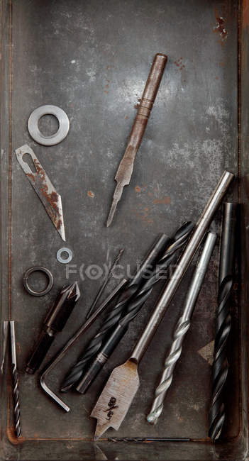 Overhead view of tray of drill bits — Stock Photo