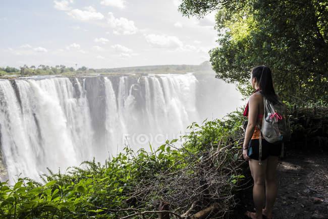 Seitenansicht der junge weibliche Touristen mit Blick auf Victoria Falls, Simbabwe, Afrika — Stockfoto