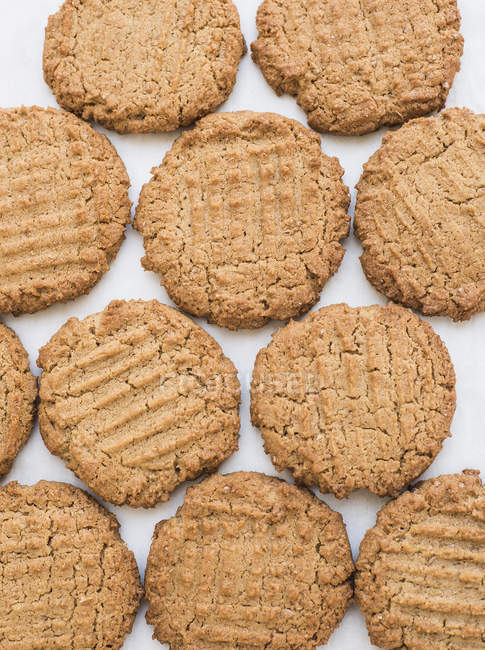 Top view of fresh delicious peanut butter cookies — Stock Photo