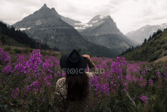Woman in flowers looking at mountain ranges, Glacier National Park, Montana, USA — Stock Photo