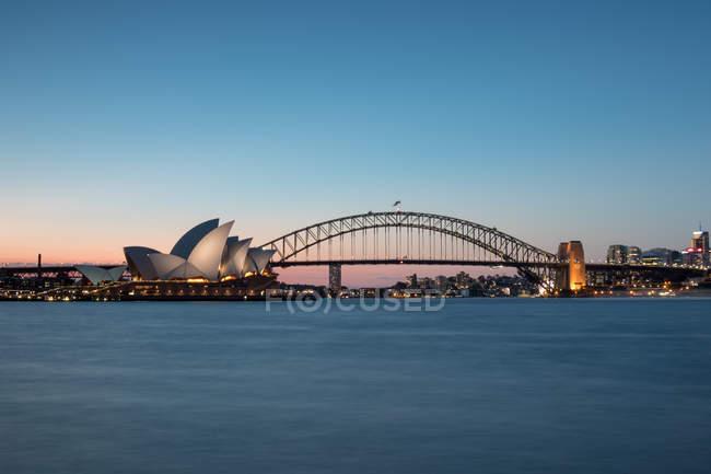 Sydney Harbor bridge and opera house, Sydney, New South Wales, Australia — Stock Photo