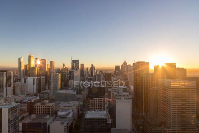 Cityscape at sunset, Melbourne, Victoria, Austrália — Fotografia de Stock