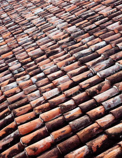 View of brown clay roof tiles, full frame — Stock Photo