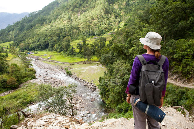Rear view of female tourist looking over valley — Stock Photo