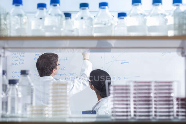 Scientists in isolation environment wearing masks, working in research laboratory. — Stock Photo