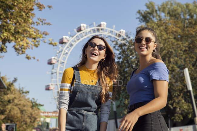 Due giovani donne con lunghi capelli castani in piedi in un parco vicino a una ruota panoramica, indossando occhiali da sole, sorridendo alla macchina fotografica. — Foto stock