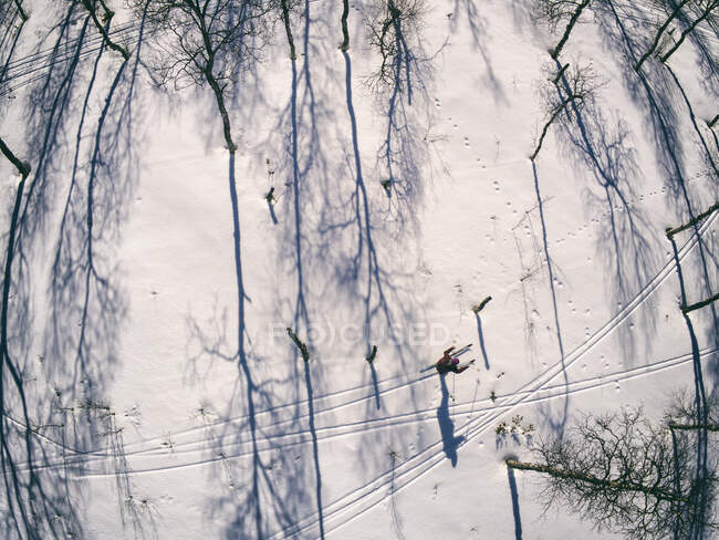 High angle view of snow covered landscape and skier in Vasterbottens Lan, Sweden — Stock Photo
