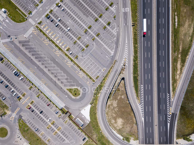 Aerial view of motorway in Florence, Italy during the Corona virus crisis. — Stock Photo