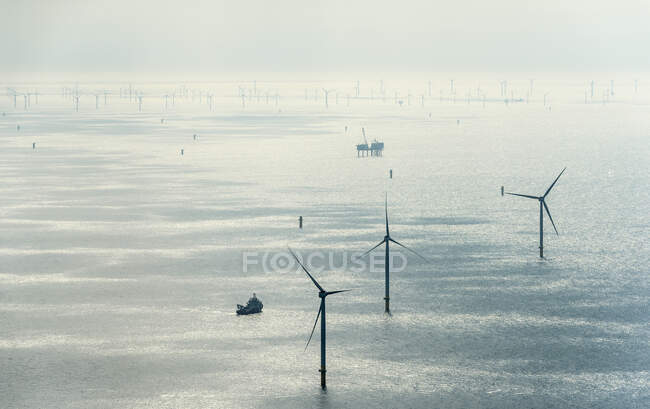 Aerial view of ocean wind turbines, North Sea, Zeeland, Netherlands — Stock Photo