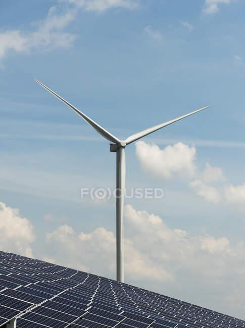 Panneaux solaires et éoliennes, champ solaire, sur une ancienne décharge. — Photo de stock