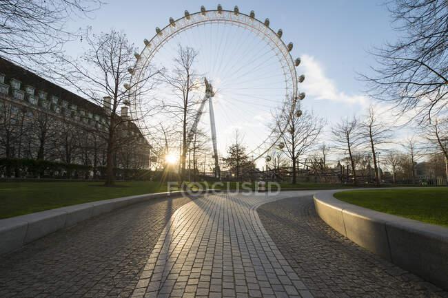London Eye roue du millénaire ferris et chemins vides dans un parc au coucher du soleil — Photo de stock