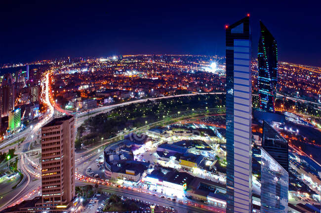 Aerial view of Kuwait City at night — Stock Photo