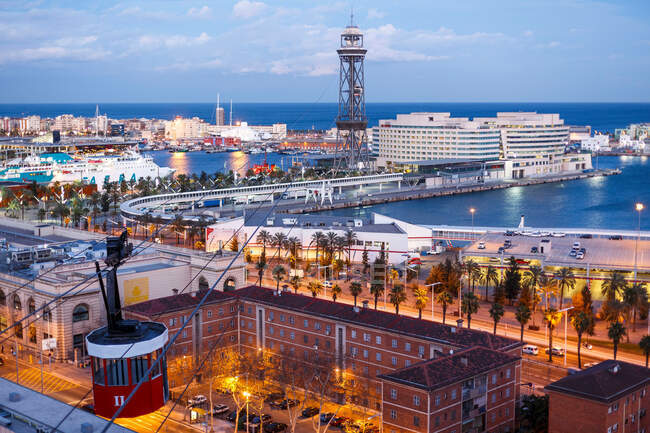 View of the marina of Barcelona and the teleferic from Montjuic hill, Barcelona — Foto stock