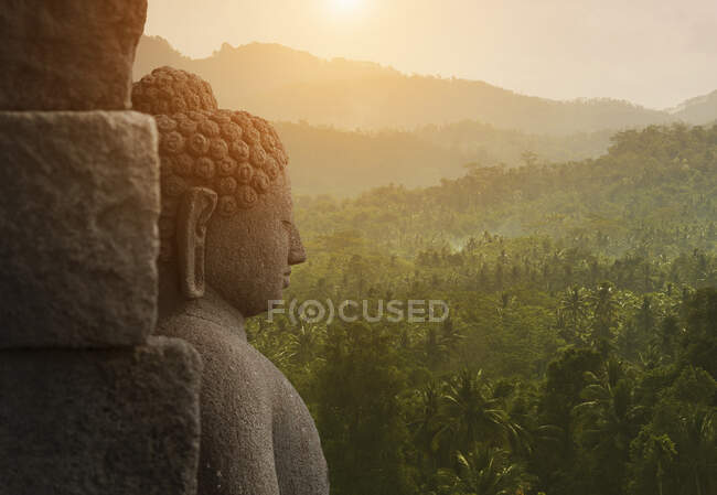 Buddha, The Buddhist Temple of Borobudur, Java, Indonesia — Fotografia de Stock
