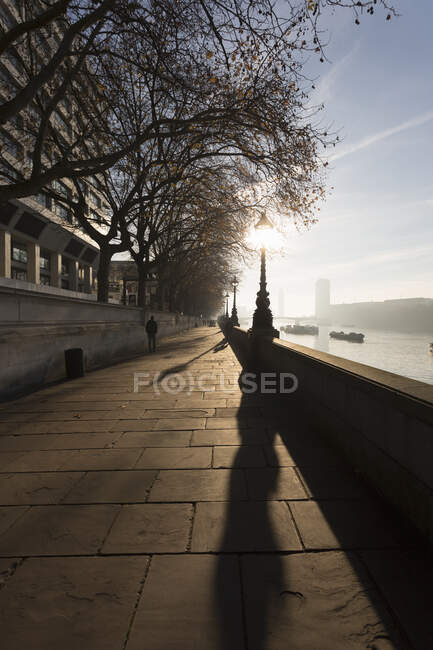Embankment on the south side of the River Thames, London, UK — Stock Photo