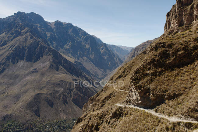 View of valley and mountain path, Colca Canyon, Peru — Stock Photo