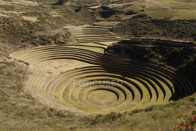 View of Moray ruins, Maras, Sacred Valley, Peru, South America — Photo de stock