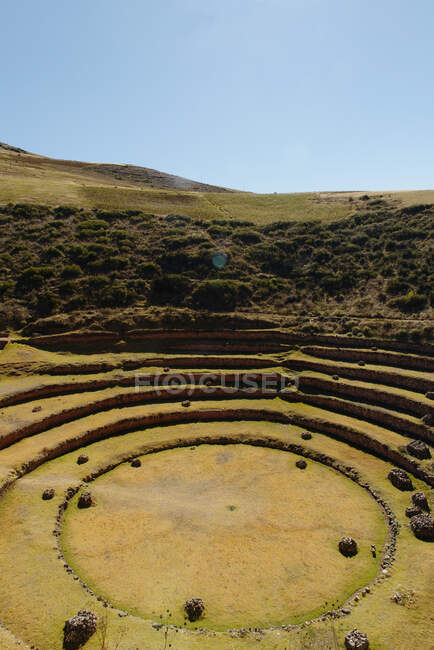 Circular Moray ruins, Maras, Sacred Valley, Peru, South America — Fotografia de Stock