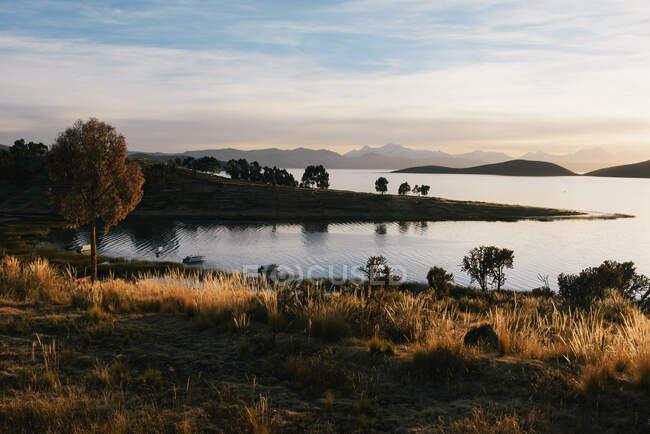 View of Lake Titicaca at sunrise, Anapia, Peru, South America — Stock Photo