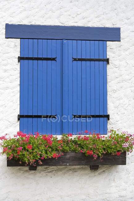 Blue shutters on white house — Stock Photo