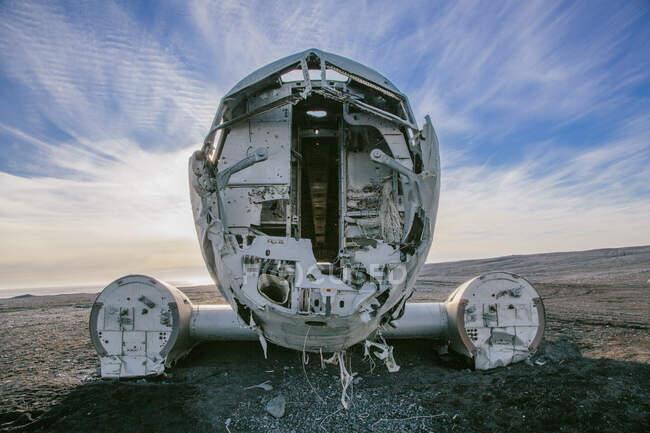 Rottami abbandonati dell'aereo della Marina degli Stati Uniti (C-47 SkyTrain), costretto ad atterrare a Solheimasandur nel 1973, Islanda — Foto stock