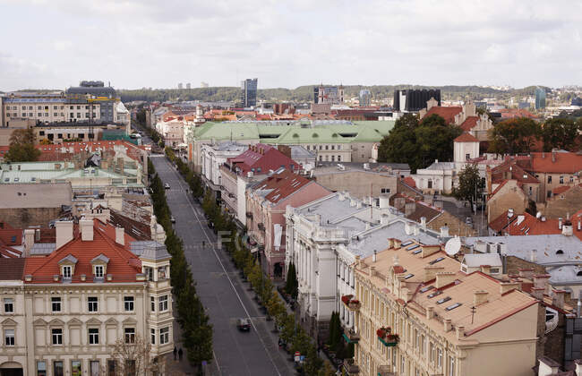 High angle cityscape, Vilnius, Estonia — Foto stock