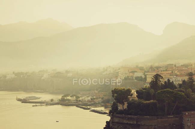 Misty view of harbor toward Naples, Sorrento, Italy — Stock Photo