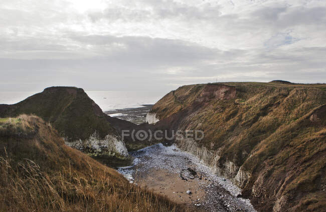 Cliffs and coastline with overcast sky, Flamborough Head, UK — Stock Photo
