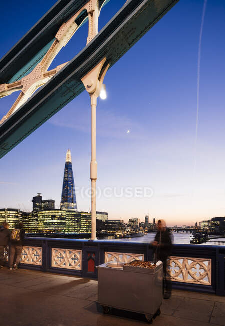 View of the Shard from Tower Bridge at night, London, UK — Stock Photo