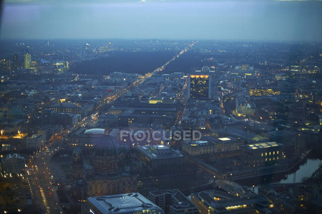 Aerial view of Berlin at dusk, Germany — Stock Photo
