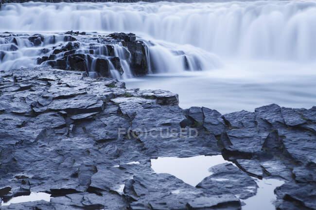 Gullfoss waterfall and volcanic rock, Hvata river, Arnessysla — Stock Photo