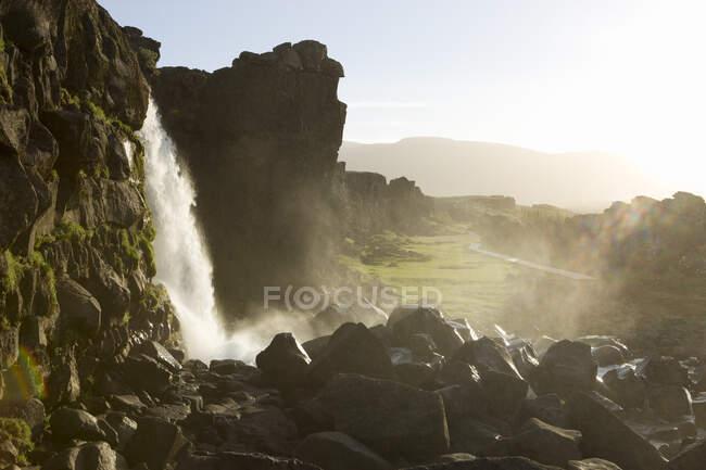 Oxararfoss waterfall, Thingvellir national park, Thingvellir — Stock Photo