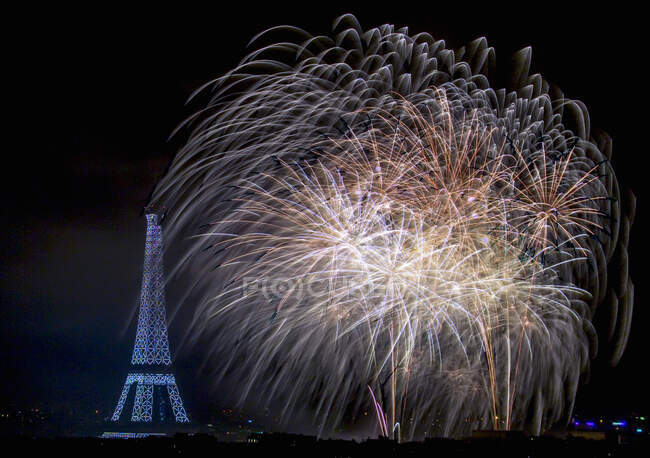 Eiffel Tower and fireworks at night, Paris, France — Stock Photo