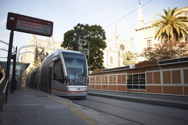 City tram at station, Seville, Andalusia, Spain — Stock Photo