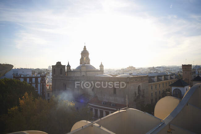 Elevated cityscape view, Seville, Andalusia, Spain — Stock Photo