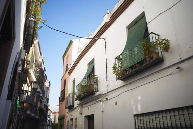 Traditional house exteriors on narrow street, Seville, Andalusia — Stock Photo