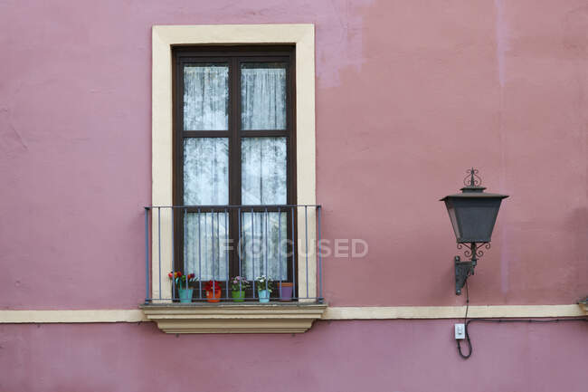 Detail of traditional pink painted house exterior, Seville, Andalusia — Stock Photo