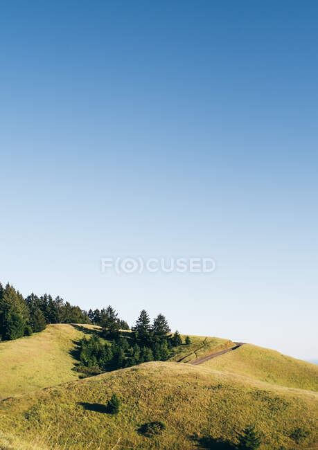 Hilly landscape and blue sky, Stinson Beach, California, USA — Stock Photo