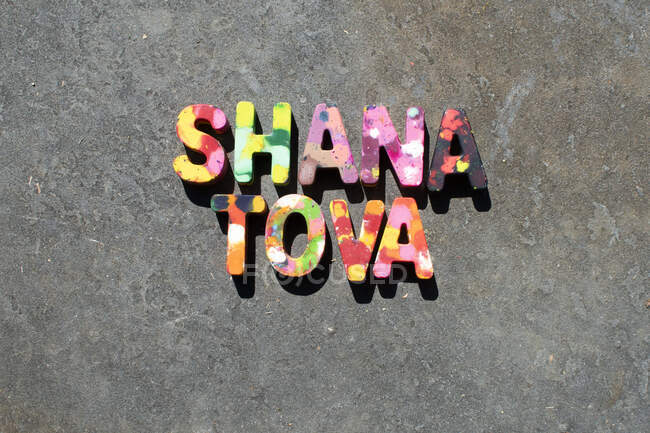 Crayon letters spelling out Shana Tova — Stock Photo