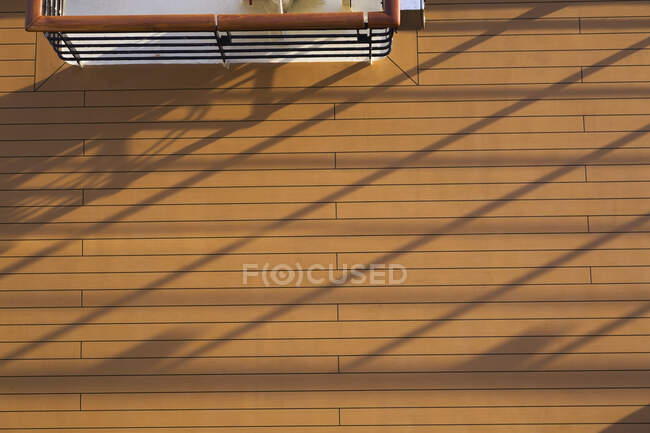 Top view of wood plank deck with shadow lines on a ship, Souda Port, Crete Island, Greece — Stock Photo