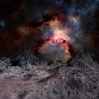 Nebulosa, vista do planeta alienígena — Fotografia de Stock