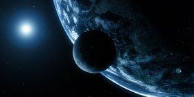 Representación visual de la tierra y la luna - foto de stock