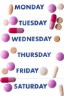 Pills and dated pill box. — Stock Photo