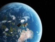 Asteroid nähert sich der Erde — Stockfoto