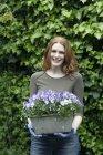 Женщина, держащая растений горшок с цветущими анютины глазки — стоковое фото