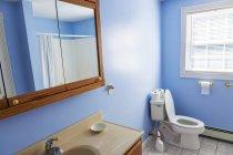 Bathroom interior with window and mirror. — Stock Photo