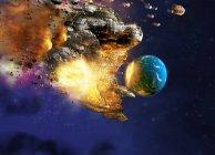 Meteor colpire il pianeta terra, illustrazione concettuale del computer . — Foto stock